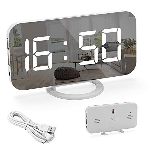 FOGARI Reloj Despertador LED con Espejo,Reloj Digital con Brillo de Pantalla,Función de Siesta de 12/24 Horas, Botón de Repetición Grande,Dos Puertos de Carga USB,para Dormitorio y Sala de Estar