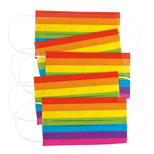 CRAZE 5er Set Mundmaske für Kinder Einwegmaske Gesichtsmaske 3-lagig Maske mit buntem Motiv Gesicht und Nase Kindermaske Regenbogen 32190