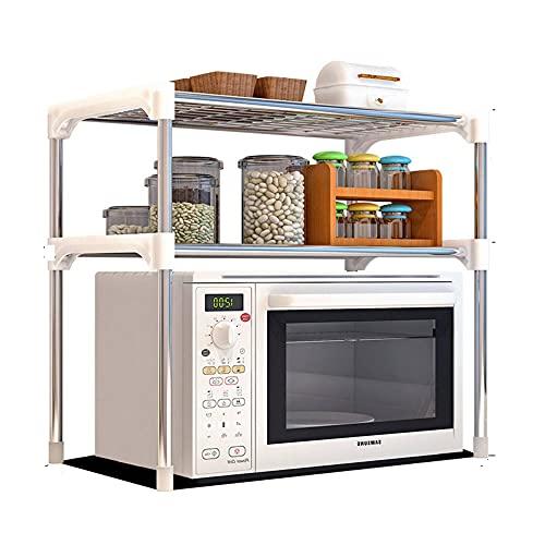 Soporte para horno de microondas de 2 capas, soporte para horno de microondas, soporte para especias de baño, organizador de acero inoxidable, estante de almacenamiento multifuncional