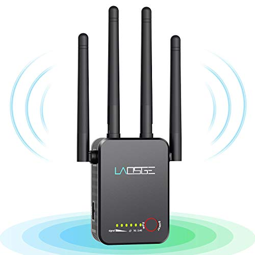 LAOSGE Super WiFi Extender Signal Booster, 1200Mbps Wireless Internet Amplifier Covers up to 2500 Sq.ft and 20 Devices, 2.4 & 5GHz Dual Band WiFi Repeater with Ethernet/LAN Port (Black)