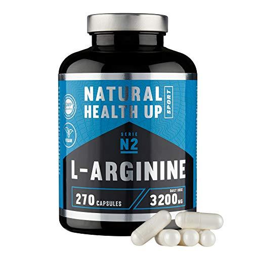 L-arginina 3,2 gramos dosis pura diaria – Suplemento deportivo para la mejora de la masa muscular – Extra de vitamina B6 para el organismo – (270 Capsulas Veganas)