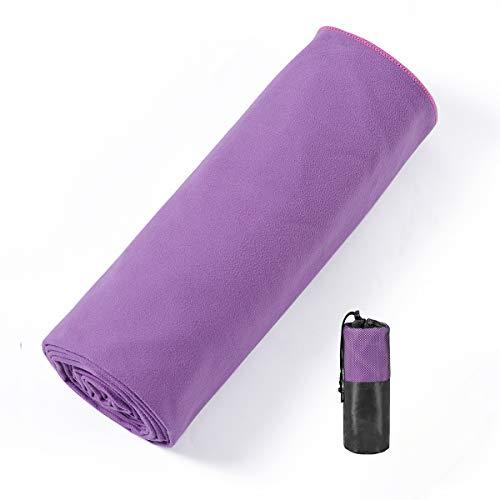 Hivexagon Toalla de Yoga con Esquinas de Anclaje, Toalla de Yoga Antideslizante, Material de Microfibra, súper Suave, Absorbente del Sudor, Ideal para Yoga, Pilates y Entrenamiento (púrpura)