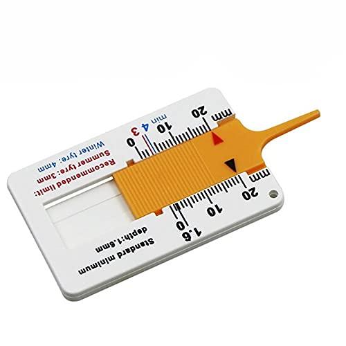 Ymxcwer85851 Regla de plástico para Llantas, Calibre de Profundidad a Vernier de 0-20 mm, Regla de Profundidad para Llantas, portátil (Blanco Amarillo)