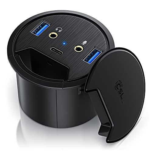 CSL - USB 3.2 Gen1 Tisch Kabeldurchführung - Tischkabeldose Multi In Desk USB Hub - 2 x USB 3.2 Gen 1 – 1 x USB C 3.2 Gen1 – 2 x Audioanschlüsse 3,5mm Klinke Lautsprecher und Mikrofon – Plug & Play