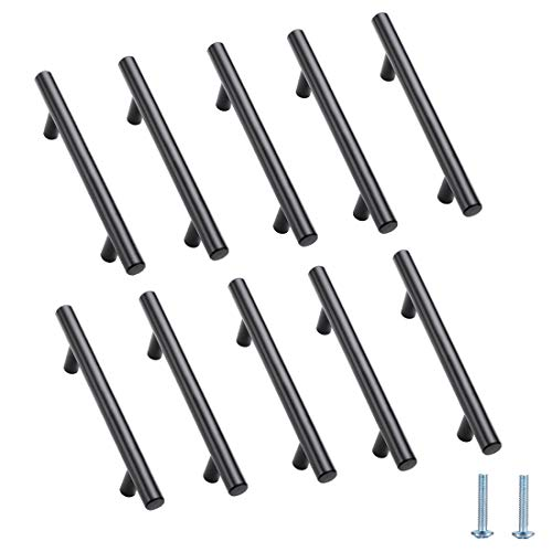 10 Pack I 6 inch Matte Black Stainless Steel Pulls Cabinet Drawer Handle for Kitchen or Bathroom