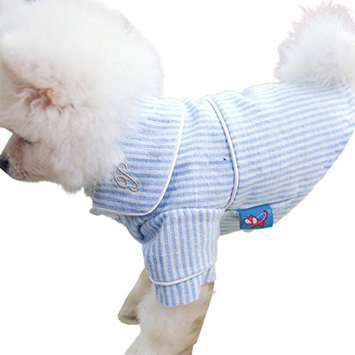 Uticon Hunde-Pyjama, für Katzen, Hunde, weiche Baumwolle, gestreift, Größe M, Blau / Weiß