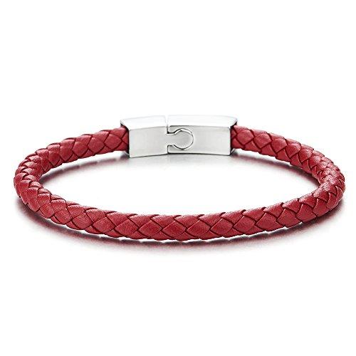 COOLSTEELANDBEYOND Unisex Dünn Rot Leder Armband für Herren Damen Geflochtenes Leder Armreif Schweißband mit Edelstahl Magnetverschluss