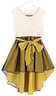 Yellow Lace Casual Dress For Girls