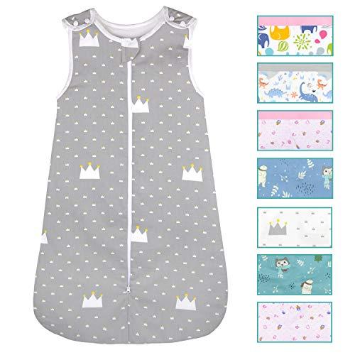 Viedouce Baby Schlafsäcke,Schlafsack Baby Bio-Baumwolle, Waschbar Kleinkindschlafsack, Ganzjahres Babyschlafsack 1 TOG,Größe 80cm für Neugeborene 3-18 Monate