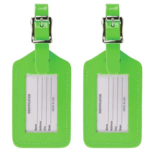 Lewis N. Clark 2 Leather Luggage Tag: Travel Accessories, Cruise Luggage Tags for Women + Men, Luggage Identifiers + Name Tag, Green (2 Pack)