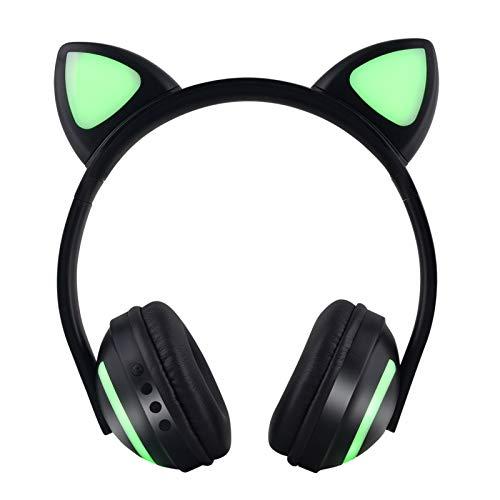 Bluetooth経由でインイヤー式ヘッドフォン、グローイング猫耳カラフルなLEDライトワイヤレスヘッドセット折り畳み式無線および有線ステレオヘッドセットマイクロSD/TF、携帯電話用FM、PC green