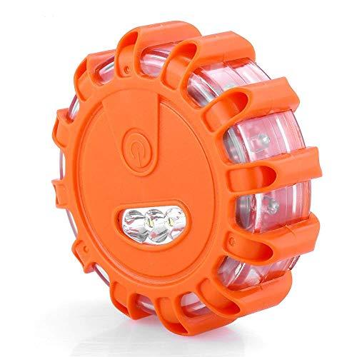 elalea Help Flash,Rotativo Led, Luces de Emergencias para Vehiculos, Luz de Emergencia Coche con Base Magnética y Gancho(Naranja, 12 + 3