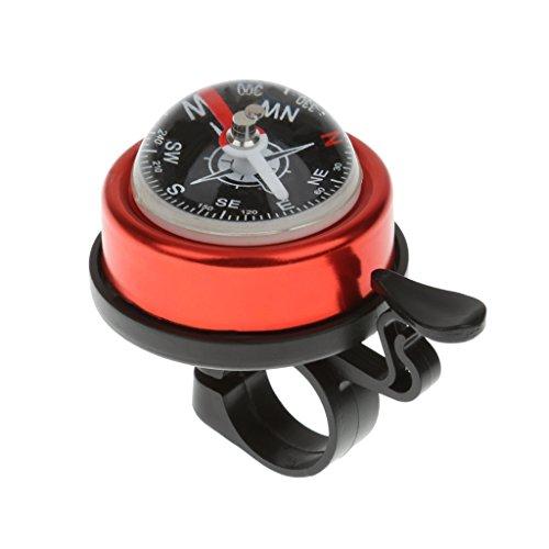 Unbranded Radsport Fahrrad Fahrradklingel Glocke mit Kompass - Rot