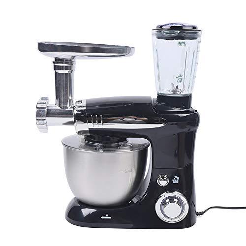 OUKANING 3 in 1 Universal Küchenmaschine, 1000W Multifuntionale Knetmaschine 6 Geschwindigkeit mit Edelstahlschüssel Teigmaschin,Mit Fleischwolf,Saftpresse,4L Edelstahlschüssel(Schwarz)