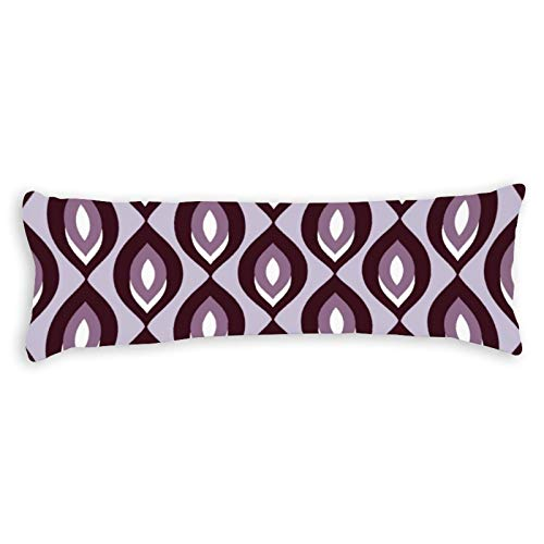 Retro Abstract Leaf Pattern Plum Ultra Soft Microfiber Long Body Pillow Cover Pillowcases with Hidden Zipper Closure for Kids Adults Pregnant Women, 20' x 54'