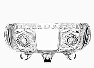 Glass Cigarette Ash Tray Crystal Cut for Home, Office and Hotel Use (Transparent, 14x7 cm)