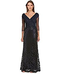 Navy Petite Three-Quarter Sleeve Sequin and Mesh Gown