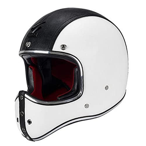 Hombres Vintage PU cuero completo cara motocicleta casco vintage moto cascos DOT aprobado Cafe Racer motocicleta Accesorios blanco XL