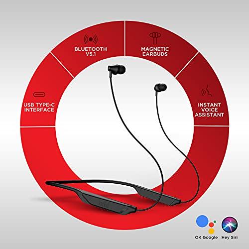 boAt Rockerz 375 Wireless Bluetooth in Ear Neckband Headphone with Mic (Active Black)