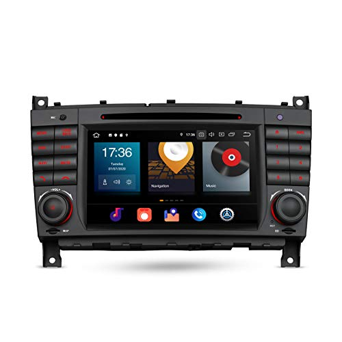 XTRONS Android 10 Car Stereo Radio DVD Player Double Din GPS Navigation Octa Core 4G RAM 64G ROM 7 Inch Touch Screen Head Unit Support Car Auto Play OBD Backup Camera for Mercedes Benz CLK W209 C-W203