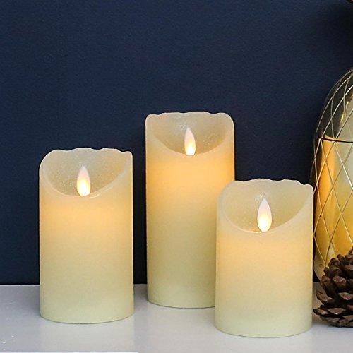 3 Bougies LED Pilier en Cire Véritable Éclairage Blanc Chaud - Effet Vacillant à Piles