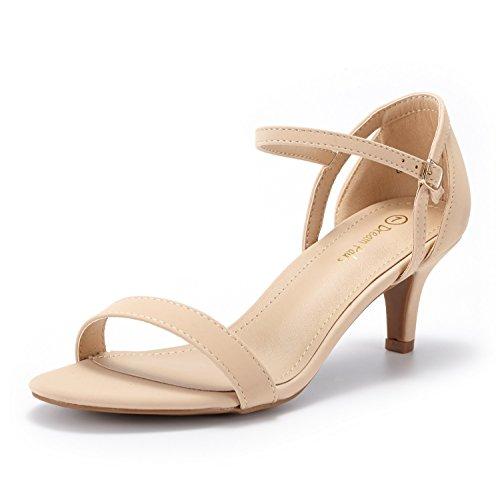 DREAM PAIRS Women's Lexii Nude Nubuck Fashion Stilettos Open Toe Pump Heel Sandals Size 8.5 B(M) US