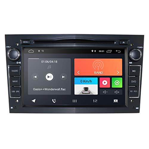 hizpo Android 10 Autoradio DVD-Player mit Bluetooth GPS-Navigation 7 Zoll Touchscreen Lenkradsteuerung WiFi 4G USB SD CAM-In passend für Opel Antara Vectra Crosa Vivaro Zafira Meriva(Schwarz)