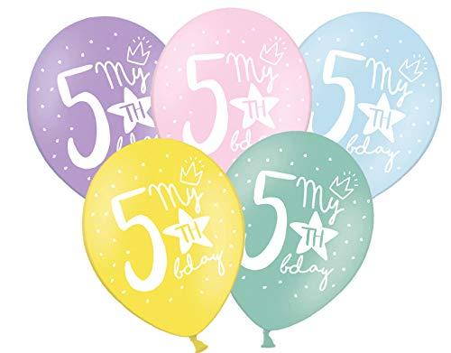 Libetui 10 Starke farbige Luftballons Nummer 5 Deko zum 5. Geburtstag Party Kindergeburtstag Dekoration mit Stern' My 5th Birthday '