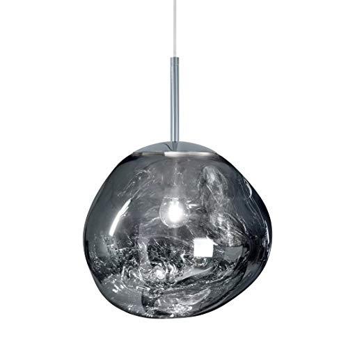 Lámpara de techo de lava Melt irregular, lámpara colgante LED, lámpara colgante para salón, color plata/oro/rojo, cobre, espejo, cocina, restaurante, hotel, D36 cm, plateado