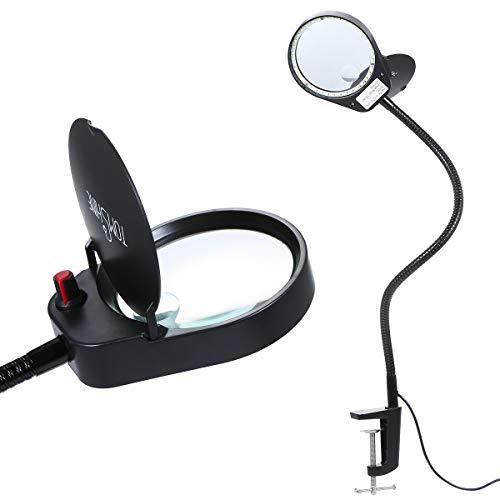 Tomshine Lupenleuchte, Lupenlampe, Schreibtischleuchte, 3X/ 10X Lupe mit Licht mit hellen 38LEDs, Metall-Klemme, Schwenkarm, USB, Dimmbar, Lupenbrille, Vergrößerungslampe, kosmetiklampe, Lesnlampe
