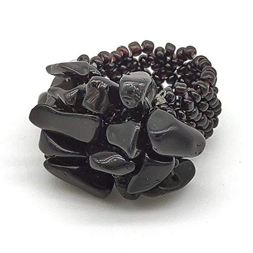 Anello artigianale donna con chips in onice nera e perline elastico, fatto a mano, pietre dure naturali