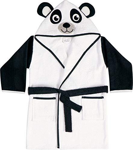 HOME CREATION Kinder Bademantel mit Kapuze aus saugstarkem Frottier, 100% Baumwolle (Panda, Gr. 98/104)