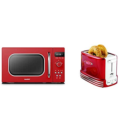 COMFEE' Retro Countertop Microwave Oven with Compact Size, 0.7Cu.ft/700W, Passionate Red & Nostalgia New and Improved Wide 2-Slice Toaster, Perfect For Bread, Retro Red