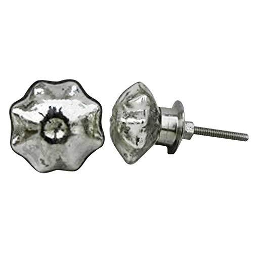 IndianShelf - Juego de 12 pomos y tiradores hechos a mano de cristal plateado de mercurio vintage para armarios de baño, aparador de puerta