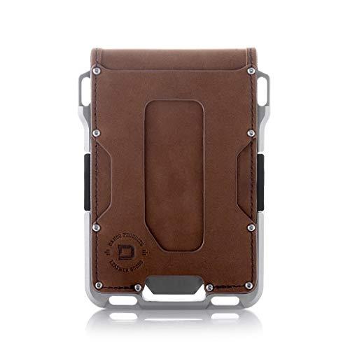 Dango M1 Maverick Wallet - CNC-Machined Aluminum, RFID Blocking, Made in USA (Bifold - Brown Rawhide/Raw Aluminum)