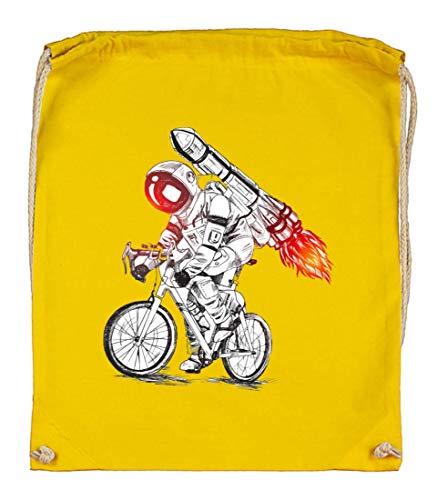 Druckerlebnis24 Turnbeutel - Astronaut Fahrrad Rakete Feuer - Stoffbeutel aus Bio Baumwolle