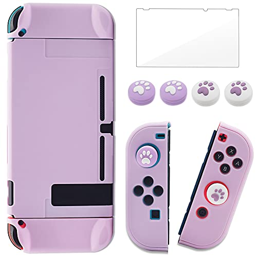 BRHE Dockable Switch Protective Case Cover for Switch with Glass Screen Protector, Anti-Scratch Shock-Absorption Grip Cover-Purple