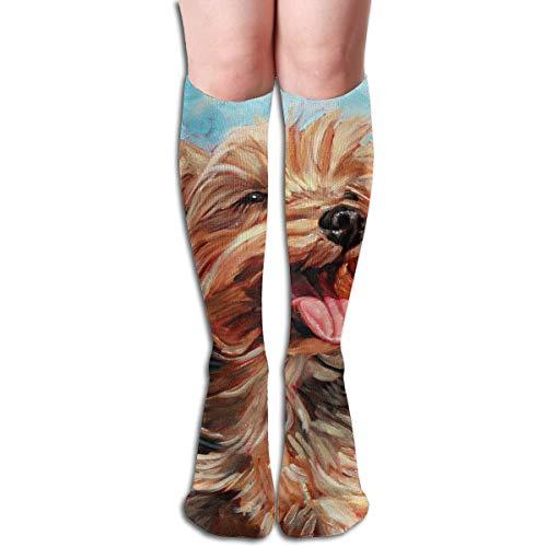 Ccsoixu Yorkshire Terrier Dog 50 Full Comfort Knee High Socks Cotton Long Knee High Socks