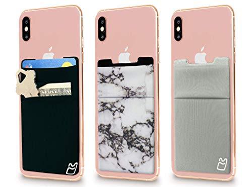 (세)신축성이 있는 셀룰라 전화 지팡이에서 지갑 카드 홀더 전화 주머니 아이폰 안드로이드와 모든 스마트폰. (블랙&그레이&대리석)