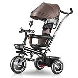 YETC Triciclo Bicicleta Cochecito Infantil del bebé del Cochecito de niños (Color : Brown)