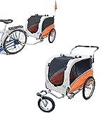 PAPILIOSHOP ARGO Rimorchio carrello per bici passeggino trasporto cane animali (Arancio, L...