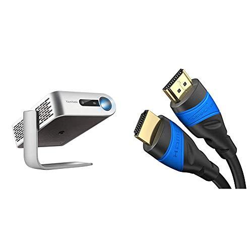 Viewsonic M1 Portabler LED Beamer (WVGA, 250 Lumen, HDMI, USB, USB-C, SD-Kartenleser, 3 Watt Lautsprecher) Silber & KabelDirekt - 4K HDMI Kabel - 5m - kompatibel mit (HDMI 2.0a/b 2.0) - TOP Series