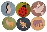 "Novel Merk Llama, Kangaroo, Ladybug, Dove, Elephant, & Penguin Refrigerator Magnets – Vinyl 3"" Round Magnets for Fridge, Lockers, Home Kitchen, Animal Decor – Self Adhesive to Metal Surfaces (6 Pack)"