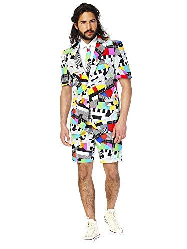 OppoSuits Herren Men Suit Business-Anzug Hosen-Set Inklusive Shorts, Kurzarmjacke & Krawatte, Testival, 52 EU
