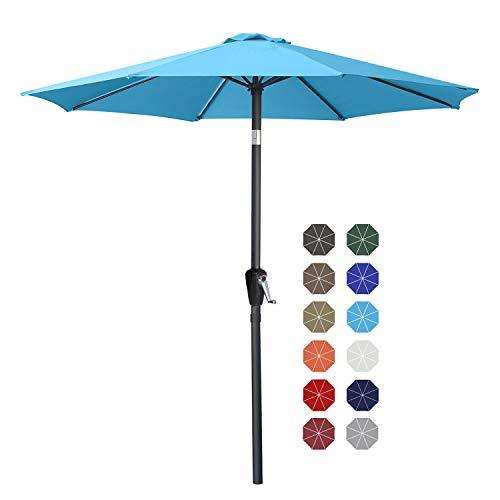 ABCCANOPY Sombrilla de mesa de patio de 9 pies con botón de inclinación para jardín, cubierta, patio trasero y piscina, 6 costillas 13 + colores, azul cielo