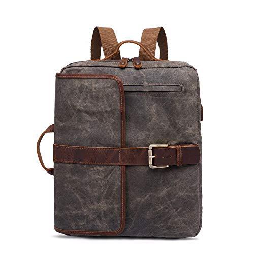 QXbecky Herren Rucksack Retro Herren Tasche Canvas USB Computer Tasche Student Tasche Canvas Rucksack Army Green 29x7x39m