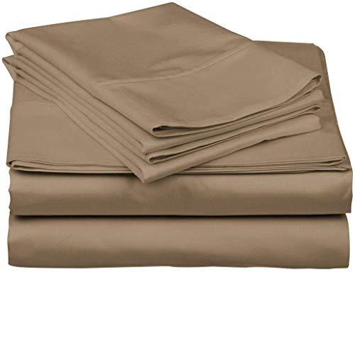 Tula Linen 1000 Hilos 100% algodón Egipcio sólido Juego de Fundas de edredón y de Almohada de 135 x 200 cm + 2 Funda 50 x 80 cm Primera Calidad Color Gris Pardo