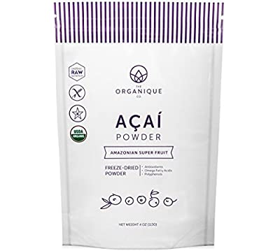 The Organique Co. Freeze-Dried Organic Raw Acai Superfood Powder. Low-Glycemic Fruit, Naturally High in Amino Acids, Antioxidants, Omega Fatty Acids, Vitamins & Fiber. Vegan, Gluten Free
