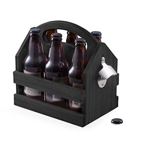 Black Solid Wooden 6 Pack Beer Bottle Holder Caddy