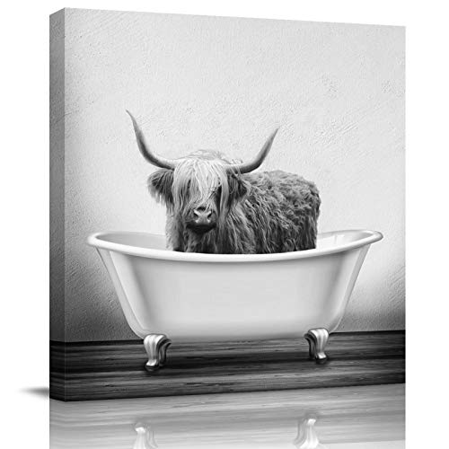 Canvas Prints Wall Art Paintings Farmhouse Animal Highland Cow in Bathtub Bubble Funny Cattle HD Print Painting Wall Artworks Pictures Framed Painting Wall Art for Living Room Bedroom 16x16 inch